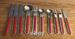 10 Piece ICM Lauffer MCMb BOCA Italy Stainless Red Flatware By Sergio Asti 1977
