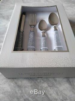 16 pc INSPIRATIONAL SILVER GLITTER SPARKLE STAINLESS STEEL CUTLERY SET