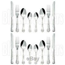 16pc Set Of Quality Kings Design Pattern Cutlery Tea Dessert Spoon Knife Fork