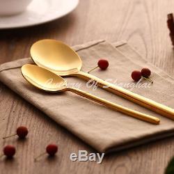 16pcs Stainless Steel Gold Cutlery Knife Fork Soup Spoon Teaspoon Dinnerware Set