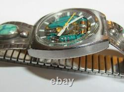 1969 ACCUTRON 214 M9 SPACEVIEW CUSHION TUNING FORK WATCH withTURQUOISE BRACELET