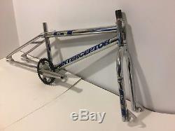 1991 GT Interceptor BMX Frame Fork Chainwheel Cranks Chrome 4130 Old School Bike