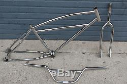 26 bmx cruiser chrome frame fork bar set vintage retro