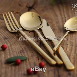 36pcs Stainless Steel Gold Cutlery Knife Fork Soup Spoon Teaspoon Dinnerware Set