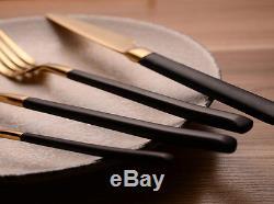 44pcs 24K Gold Stainless Steel Black Gold Handle Dinnerware Set Knife Fork Spoon