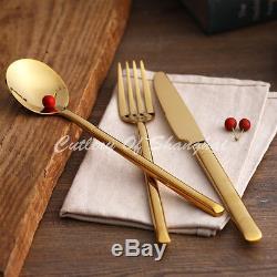 44pcs Stainless Steel Gold Cutlery Knife Fork Soup Spoon Teaspoon Dinnerware Set