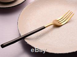 48pcs 24K Gold Stainless Steel Black Gold Handle Dinnerware Set Knife Fork Spoon