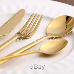 48pcs Stainless Steel Gold Cutlery Knife Fork Soup Spoon Teaspoon Dinnerware Set