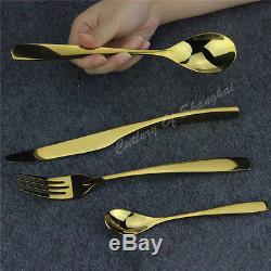 48pcs Stainless Steel Gold Cutlery Knife Fork Spoon Teaspoon Dinnerware Set New