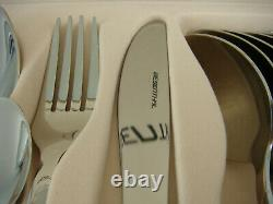 84 Piece 18/8 Cutlery Set Stainless Steel in Wooden Case with Drawer Silver New