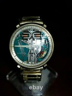ACCUTRON 214 SPACEVIEW 10KT. GOLD FILLED TUNING FORK MEN's WATCH M8