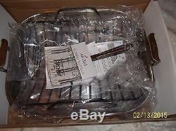 ALL-CLAD STAINLESS STEEL ROTI PAN 16 X 13 ROASTING PAN Item # 5016 RACK & FORKS