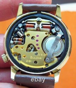Accutron 2182 Bulova 14kt. Gold Filled Tuning Fork Men's Watch N3
