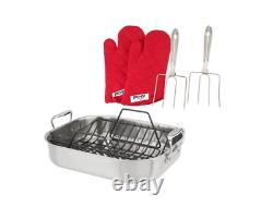 All-Clad Stainless Steel Dishwasher Safe Roaster WithGloves and Forks(Your Choice)