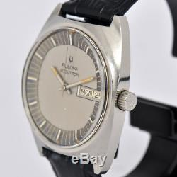Auth BULOVA ACCUTRON Day&Date Stainless Steel Tuning Fork Men's Watch o#70528