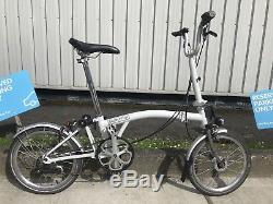 Brompton Bike M3l In White Dynamotitanium Forksworldwide Postage