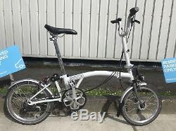 Brompton-bike-m3l-in-white-dynamo-titanium-forks-