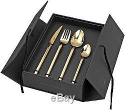 Broste Copenhagen Tvis Gold Cutlery Set Stainless Steel Table Knives Forks Spoon