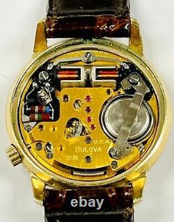 Bulova Accutron 2181 Tuning Fork 34mm Gold Filled Quartz Wristwatch 1972 N2