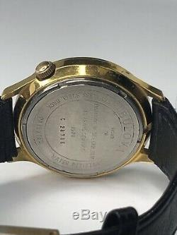 Bulova Accutron Mens Stainless Steel Tuning Fork Watch Gold Tone Working