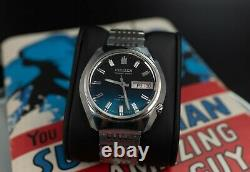 CITIZEN HISONIC Rare Japan Tuning fork watch beautiful blue dial day/date