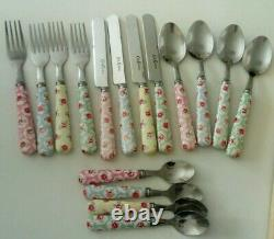 Cath Kidston Provence Rose Cutlery Set 16 Piece Pastel Colours Wooden Tray