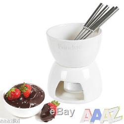 Ceramic Chocolate Or Cheese Fondue Set With Stainless Steel Forks Home Kitchen