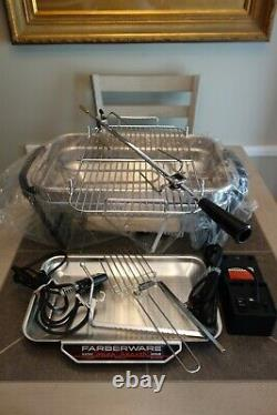 Farberware Open Hearth Broiler Rotisserie Grill Indoor 455A Stainless Steel NEW