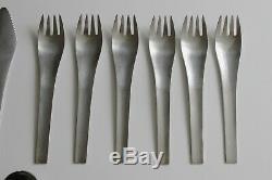Georg Jensen Blue Shark Cutlery 24 Pc Set Knives Forks Spoons Teaspoons Danish