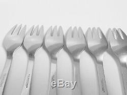 Georg Jensen Stainless Mitra Matte Solid Fish Salad Fork Set of 6 Denmark