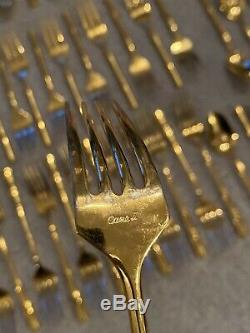 Gold CANE Bamboo Flatware Set Fork Spoon Knife 80+ Pieces Cane II Towle