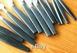 Hackman Black Lion Stainless Flatware 13pc Spoons Forks Knives Finland MCM Htf