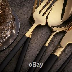 Homestia Silver Gold Flatware Set Dinner Table Spoons Knives Cutlery Forks Gift
