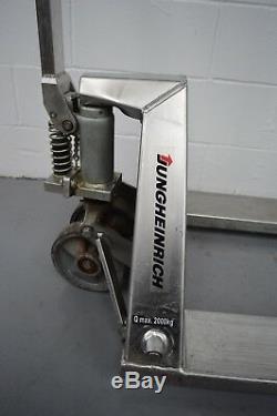 Jungheinrich 2000Kg stainless steel pallet truck FWO 97cm forks £600 + VAT
