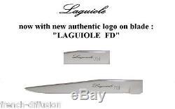 LAGUIOLE 6 Steak Knives + 6 Forks (12 pcs) BROWN WOOD + ROSEWOOD + BLACK WOOD