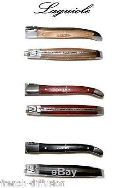 LAGUIOLE 6 Steak Knives + 6 Forks (12 pcs) OLIVEWOOD + ROSEWOOD + BLACK WOOD