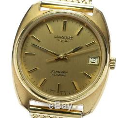 LONGINES Flagship Ultronic Gold Dial tuning fork Men's Watch 555303