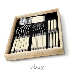 Laguiole 24 Piece Cutlery Set Tableware Canteen in a Black Tray in Ivory