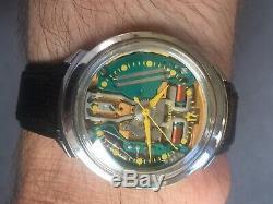 MIB Spaceview 35MM Bulova Accutron Turtle LUGS Yellow Dot m4 tuning fork omega