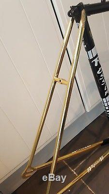 NOS Special Order 24k Gold Plated Rossin Super Record Columbus Frame And Forks