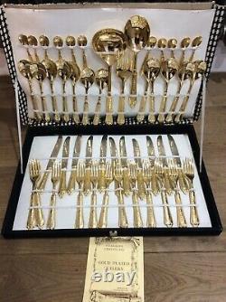 NWTIB LBL 24 carat Gold Plated Vintage 49 Piece Cutlery Set Italy EP ZINC
