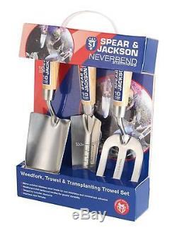 Neverbend Stainless Steel Hand Tool Gardening / Gardeners Gift Set, Trowel Fork