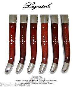 Original LAGUIOLE 6 Steak Knives + 6 Forks real ROSEWOOD (wood, flatware, set)