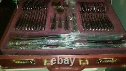 Prima Edwardian 72 piece canteen Cutlery set stainless steel edged gold in case