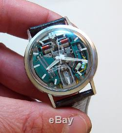 Rare Serviced 214 Accutron Spaceview Stainless Steel Tuning Fork Mens Watch M3