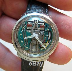 Rare Serviced 214 Accutron Spaceview Stainless Steel Tuning Fork Mens Watch M5
