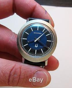 Rare Serviced 214 Accutron Stainless Steel Tuning Fork Men's Watch N1