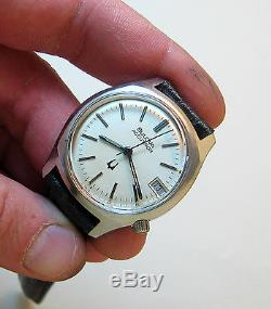 Rare Serviced 219 Accutron See Thru Back Stainless Steel Tuning Fork Watch N7