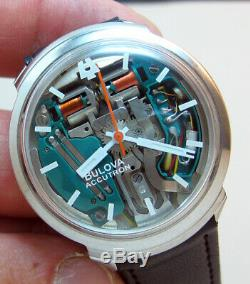 RARE SERVICED ACCUTRON 214H SPACEVIEW STAINLESS STEEL TUNING FORK MENs WATCH M4