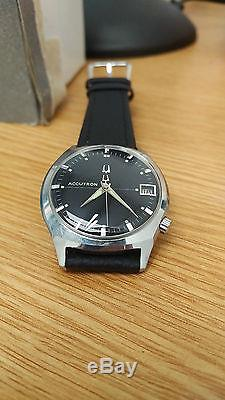 Rare Serviced Vintage Accutron 218d Stainless Steel Tuning Fork Mens Watch N1